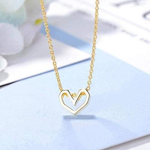 ZHIFUBA Co.,Ltd Collar de Moda Simple Amor Collar Femenino Hueco en Forma de corazón joyería de Oro exquisitos Collares Pendientes