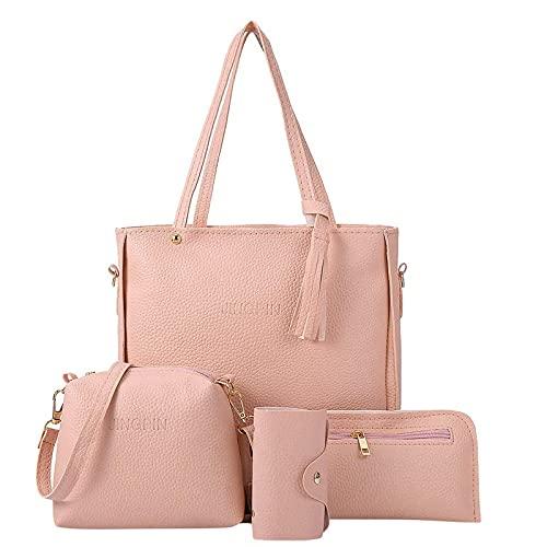 Bandolera para mujer, bolso de hombro, bolso de mensajero, monedero, 4 juegos de bolsos para madres, novias y esposas, Rosa., talla única,