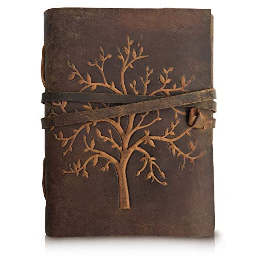 Leather Journal Tree of Life - Writing Notebook Handmade Leather Bound Daily Notepads for Men and Women Blank Paper - Ideal Gift for Art Sketchbook, Travel Diary and Journals to Write in