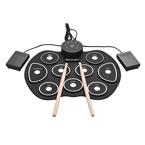Muslady Tamaño compacto USB Roll-Up Silicon Drum Set Kit de batería electrónica digital 9 Drum Pads con pedales Pedales para principiantes Niños
