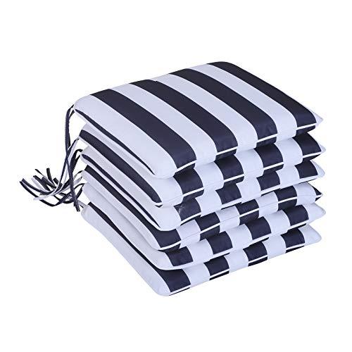 Outsunny Set 6 Cuscini per Sedia Sfoderabili 100% Poliestere 42x42x5cm Bianco e Blu
