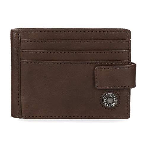Pepe Jeans Button Inhaber einer Kreditkarte Braun 10x8 cms Leder