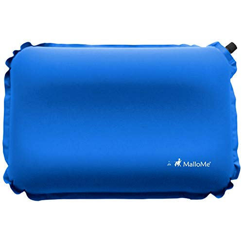 MalloMe Inflatable Camping Travel Pillow - Backpacking Camp Pillows for Sleeping Bag Pad - Small Mini Air Size Ultralight Inflating Compressible Compact Portable Gear Accessories Hiking