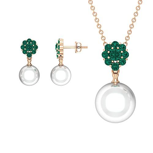 Rosec Jewels 18 quilates oro rosa redonda White Green Perla de agua dulce Esmeralda rusa creada en laboratorio