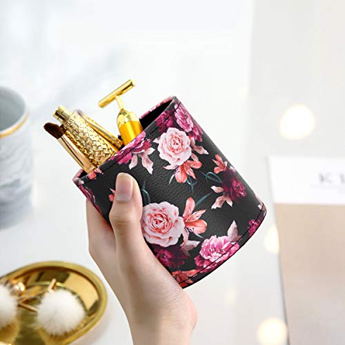 Pen Pencil Holder, WAVEYU Floral Flower Pattern Pen Cup Container PU Leather Desk Organizer Stand Decor Brush Scissor Holder Desk Organizer Decoration for Office Desk Home Decorative, Floral Photo #2