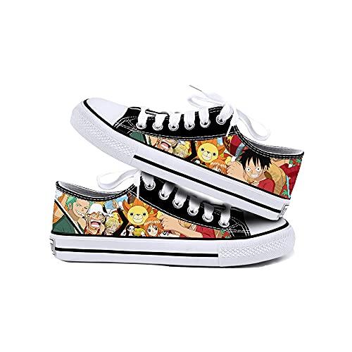JPTYJ One Piece Monkey·D·Luffy/Roronoa Zoro Zapatos de Lona Unisex Zapatillas Altas Zapatos con Cordones de Anime A-43