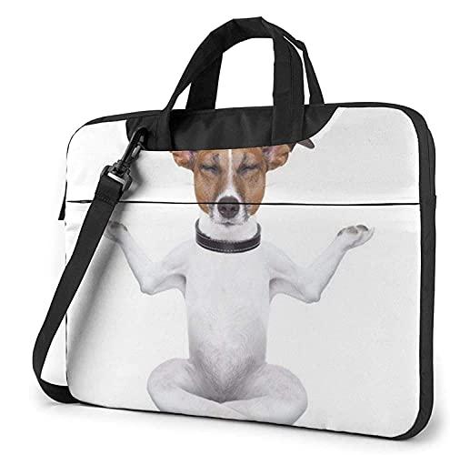 Maletín Funda para Ordenador Portátil Perro Cachorro de Yoga Divertido Portadocumentos Maletines y Bolso Bandolera para Portátil 13/14/15.6 Pulgadas