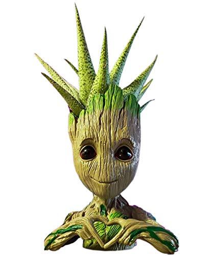 SLOCME Love Groot - Macetero de guardianes de la galaxia para soporte de bolígrafo, adorno de escritorio, maceta con agujero de drenaje