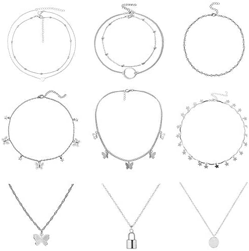 9PCS Butterfly Choker Necklace Gold Silver Layered Chain Dainty Choker Pendant Necklaces for product image