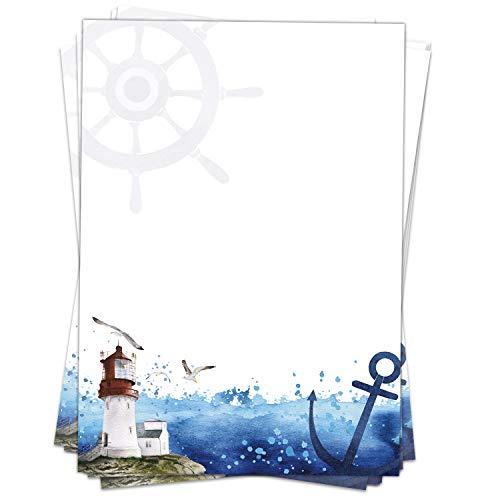 50 Blatt Briefpapier (A4) | Maritimer Leuchtturm am Meer | Motivpapier | edles Design Papier | beidseitig bedruckt | Bastelpapier | 90 g/m²