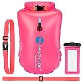 EKKONG Boya de Natación, Swim Buoy Inflable con Bolsa Estanca, para Aguas Abiertas, Visibilidad y Seguridad al Nadar (Roja)