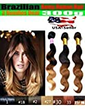 uSTAR Best Selling 3 Bundles Malaysian Body Wave Hair Weave Extension - Tip-Dyed Two-Tone #1B/#30 Color - 100% Human Hair - 12'12'14'
