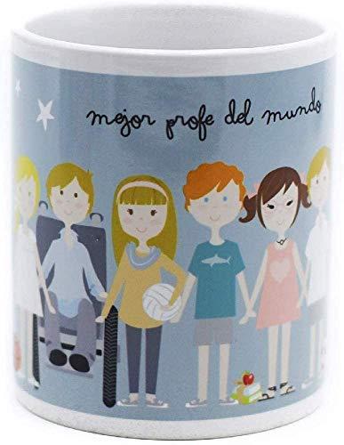 SUSIKO Taza de Cerámica Mejor Profe con Niños, Color Blanco Brillante, Tamaño 8 x 9.5 cm