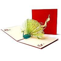 グリーティングカード 3 dポップアップ母の日カード周年記念グリーティングカードお母さんのためのギフト彼女のギフト孔雀カードクリスマス感謝祭の父の誕生日カード カードありがとうございます (Color : Green, Quantity : 6pc)
