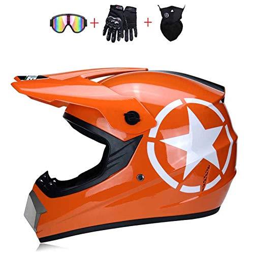 TKGH Motocross Helm mit Visier Brille Handschuhe Maske, Full Face Motorrad-Helm für Off-Road Enduro Schutzhelm Moped ATV BMX Sport Adventure Mountain Motorrad Cross Helm Set Damen Herren,Orange,M