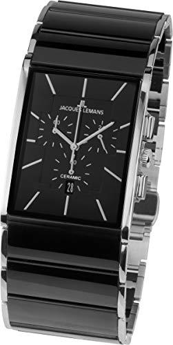 JACQUES LEMANS Herren Analog Quarz Uhr mit Edelstahl Armband 1-1941A