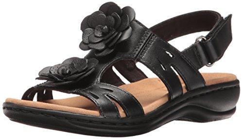Clarks Women's Leisa Claytin Flat Sandal, Pewter Metallic Leather, 7 M US