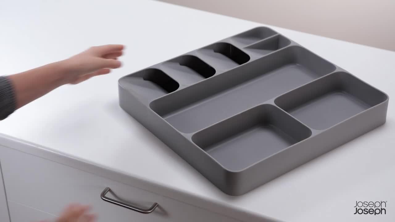41bSpvlGdkL Joseph Joseph DrawerStore Organizer für Besteck, Küchenhelfer und Kochzubehör, Plastik, Grau, 38.4 x 39.70 x 5.3 cm, 1…