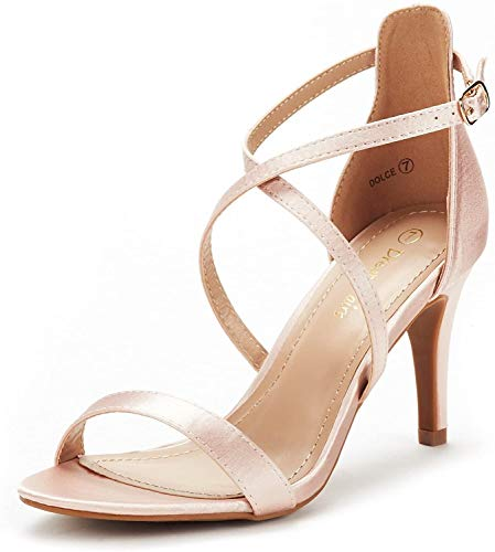 DREAM PAIRS Women's Dolce Champagne Fashion Stilettos Open Toe Pump Heel Sandals Size 7.5 B(M) US