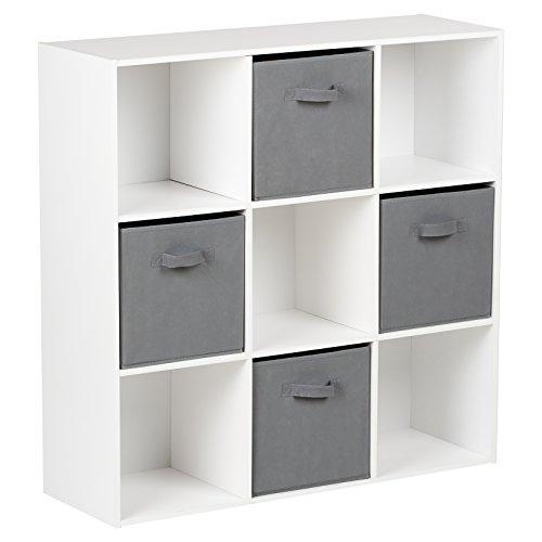 Hartleys Würfelregal in Weiß mit 9Fächern u. 4Schubkästen in Grau