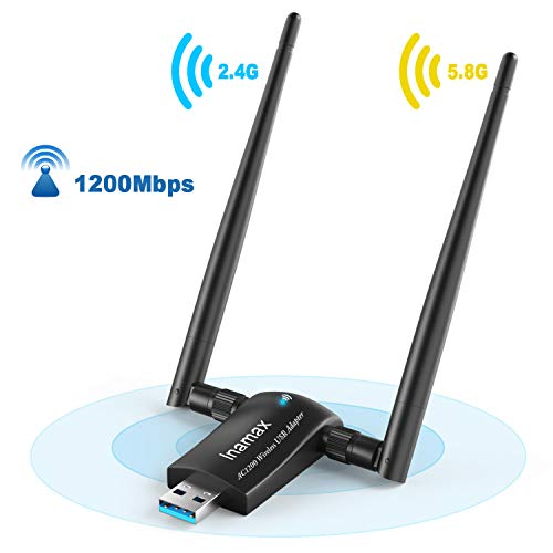 USB WiFi Adapter, Inamax 1200Mbps Wireless Network WiFi Dongle with USB3.0 High Gain Dual Antennas for Desktop Laptop PC Mac,Dual Band 2.4G/5G 802.11ac,Support Windows 10/8/8.1/7/Vista/XP,MacOS10.5-15
