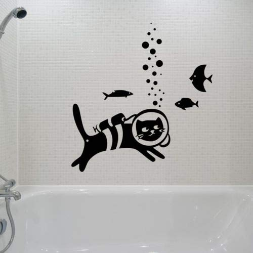 Geiqianjiumai vis onderdompelen kat muursticker decoratie afneembare woonkamer vinyl muursticker kinderkamer kunst muurbekleding