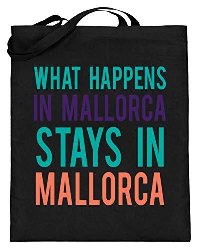 Algemeen What Happens In Mallorca Stays In Mallorca - eenvoudig en grappig design - jute zak (met lange handvatten)