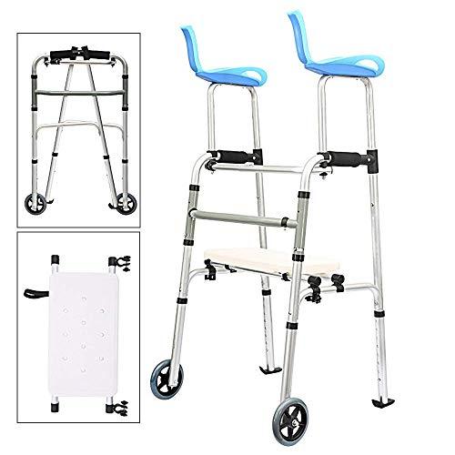 LAZ Rollstuhl Rollator Walker mit Sitz Räder Mobility Folding Slides Rollhandgriff justierbares leichtes Reisen Walker for Männer und Frauen Ältere