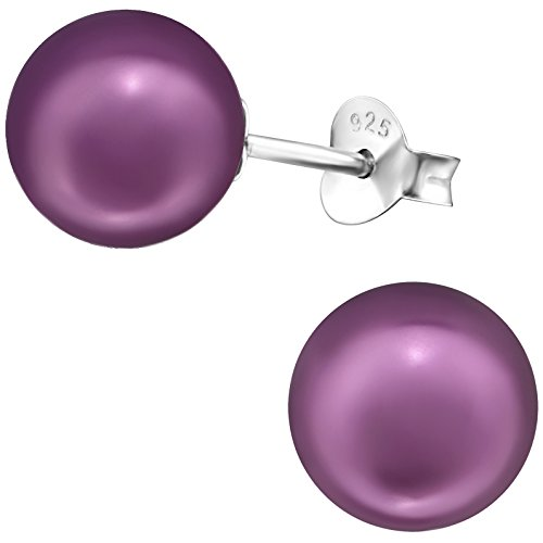 EYS JEWELRY Ohrstecker Damen 925 Sterling Silber Perlen Kunstperlen violett-lila Damen-Ohrringe