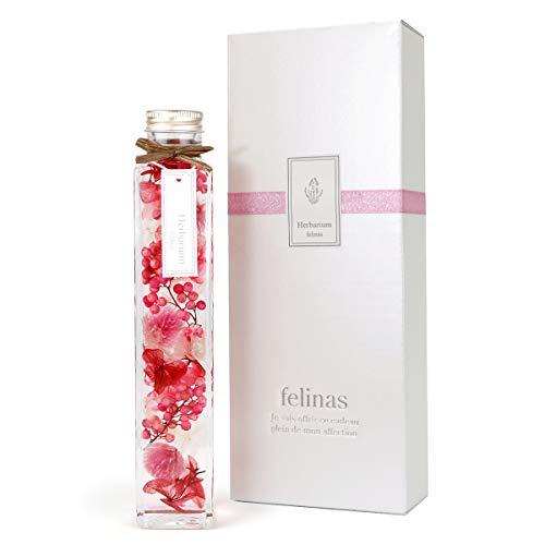 フェリナス ハーバリウム 角瓶 (1本) ピンク/母の日 父の日 花 ギフト プレゼント 贈り物 誕生日 結婚 記念日 kaku-pink