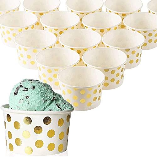 Blue Panda Eisbecher aus Pappe (Set, 50 Stück) - Für Hochzeiten, Partys, Karneval - Ideal für Eisdielen, Imbisswagen, Restaurants - Umweltfreundlich - 237 ml - Weiß mit Goldenen Punkten