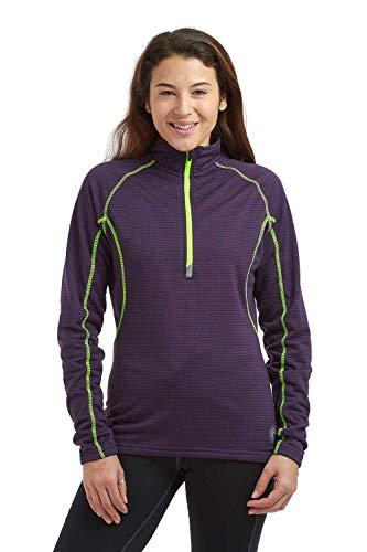 time to run Damen Langarm Thermisches und Leichtgewichtiges Lauf- oder Fitnessoberteil Funktionsshirt mit Reißverschluss S Aubergine