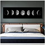 Die Mondphase Schwarz Weiß Poster Leinwand Kunstdrucke Nordic Wandkunst Abstrakte Malerei Wandbild für Wohnzimmer Wohnkultur/50x150 cm-Kein Rahmen