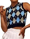 Grneric Women Argyle Preppy Style Y2K Sweater Vest Sleeveless V Neck Knitwear Knit Tank Top (S, Blue&Black)