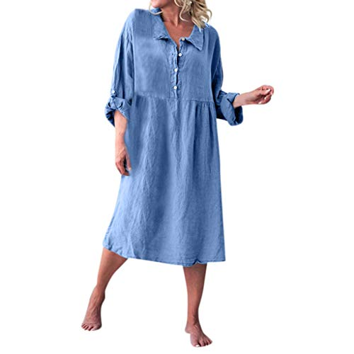 Vrouwen Losse Linnen Shirt Stijl Jurken, Dames Basic Lange Mouw Effen Kleur Kraag Knoop Buiten Binnen Thuis Jurk