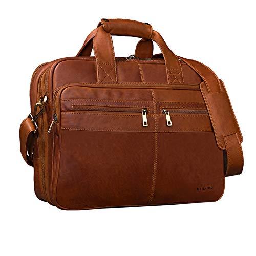 STILORD 'Alexander' Bolso de Negocios o maletín Grande de auténtica Piel para Hombres Bolsa de Mensajero o Bandolera para portátiles Oficina y Universidad, Color:Cognac-marrón