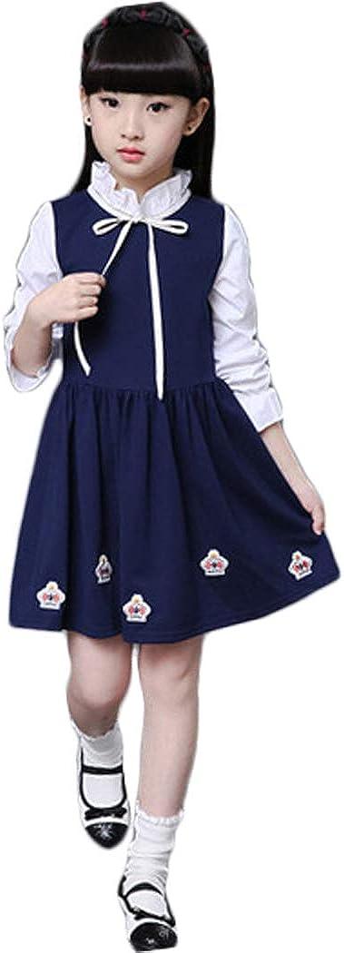 ASHER FASHION Little Big Girls Floral Dress School Uniform Summer Sundress Pleated Party Dress