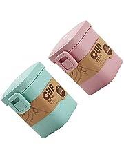 Hemoton 2 frascos de comida de paja de trigo sellado para microondas, recipiente de sopa para la escuela, la oficina al aire libre 600 ml (rosa + verde)