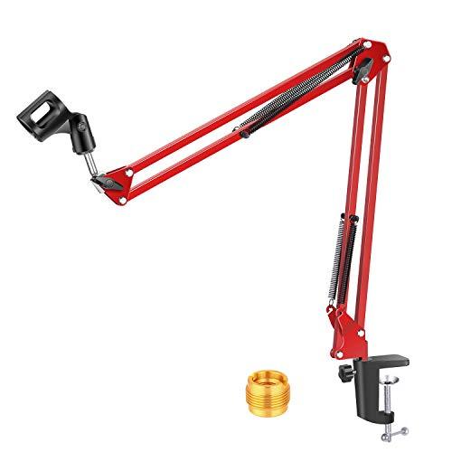 Neewer NW-35 - Sospensione regolabile da 80 cm per microfono in studio di registrazione, braccio a forbice con clip per microfono e morsetto per montaggio da tavolo, Rosso
