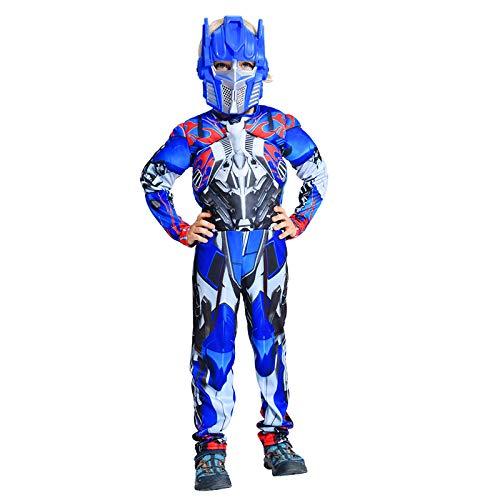 WSJYP Halloween Cosplay Kindertransformatoren Kleidung Optimus Prime Bumblebee Muscle Armor Warrior Kleidung Männlich,Blue-L