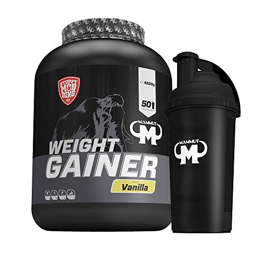 4,5kg Mammut Weight Gainer Crash 5000 für Hardgainer - Set inkl. Protein Shaker oder Powderbank (Vanilla, Gratis Mammut Shaker)