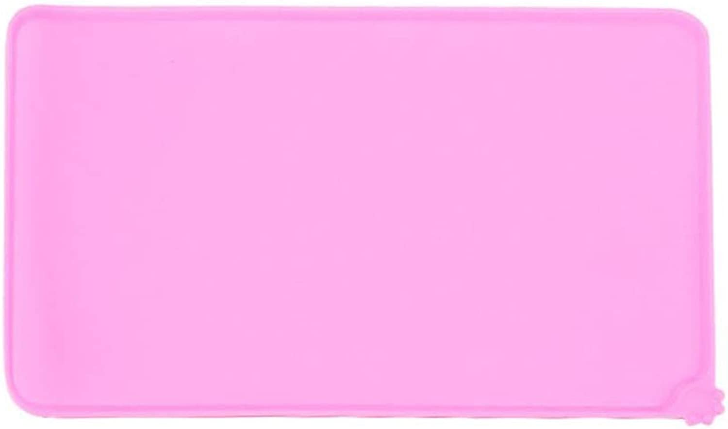 LIHUA Pet Silicone Antioverflow Placemat Antiskid Moistureproof Waterproof Easy To Clean Cat Dog Mat Dog Bowl Pad Biteresistant Supplies (color   PINK, Size   47  30cm)