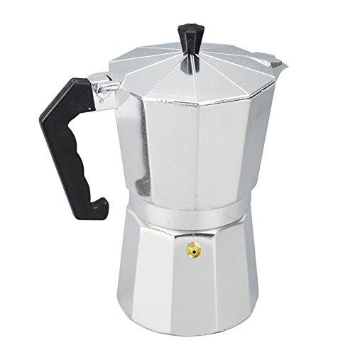 Italienischer Espressokocher, Aluminium 1/3/6/9/12 Tasse, Latte Mokka, Herdplatte, Macchinetta, aus Edelstahl mit Kupfer-Chrom-Finish, für vollkörperige Herdplatte, Kaffee 50 ml silberfarben/schwarz