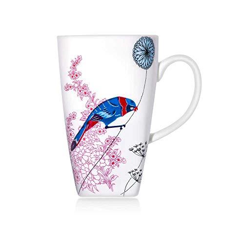 Meilo Vajilla de Porcelana, Porcelana de Hueso Elegante, Platos, tazón de Sopa,tazs, (Bird 1mug Large)