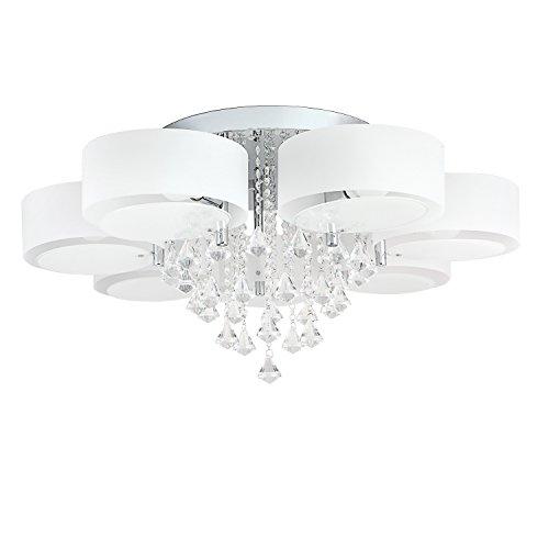 49W Lampadario LED, bianco caldo e 24W RGB, cristallo acrilico, per soffitto, parete, corridoio, camera da letto, cucina, soggiorno 7-flammig