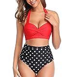 GYUANLAI Mujeres Vintage Gather Bikinis Trajes de Baño Traje de Baño de Talle Alto con Pliegues Dos Piezas Halter Bottoms de Bikini con Pliegues y Trajes de Baño con Parte Superior Corta