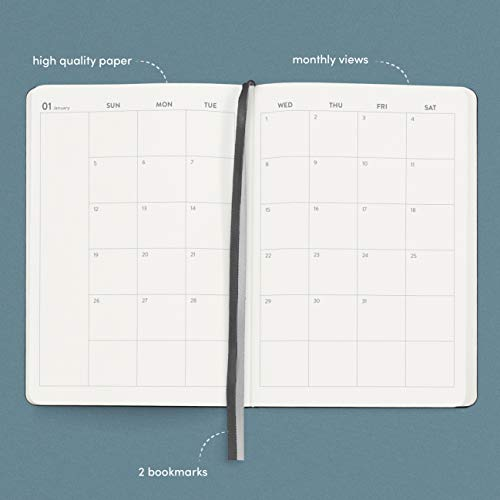 Product Image 3: Planner 2021 Hardcover with Weekly and Monthly Plan, 12 months, 5.7 x 8 in, BLACK- with vegan leather cover, elastic closure, 2 bookmarks, dotted notes pages- January through December 2021