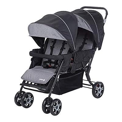 Safety 1st Teamy Cochecito gemelar y hermaños, Silla de paseo gemelar plegable, carrito gemelos doble, ligero y compacto, color Black Chic