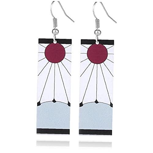 TOSSPER 2 Paia Tanjiro & Hanafuda Orecchini Acrilico Anime Orecchini Cosplay Orecchini Simbolo del Sole Orecchino del Pendente per Le Donne della Ragazza