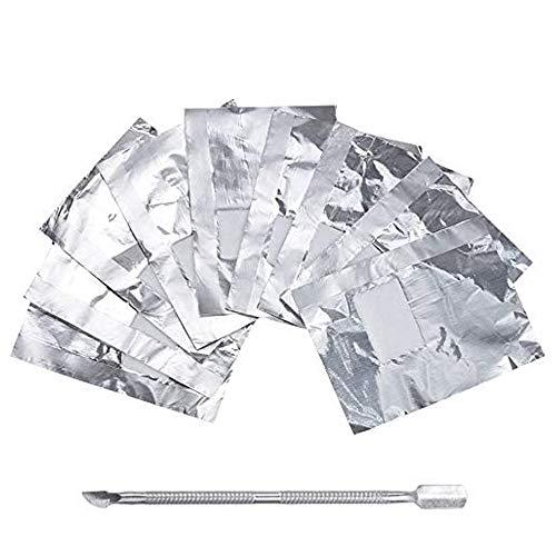 Lictin 200PCS Remover Foil Wraps del Rimuovere smalto gel per Unghie, Fogli di Alluminio per Rimuovere lo Smalto,Nail wraps di tamponi di cotone + Spingi Cuticole Professionale